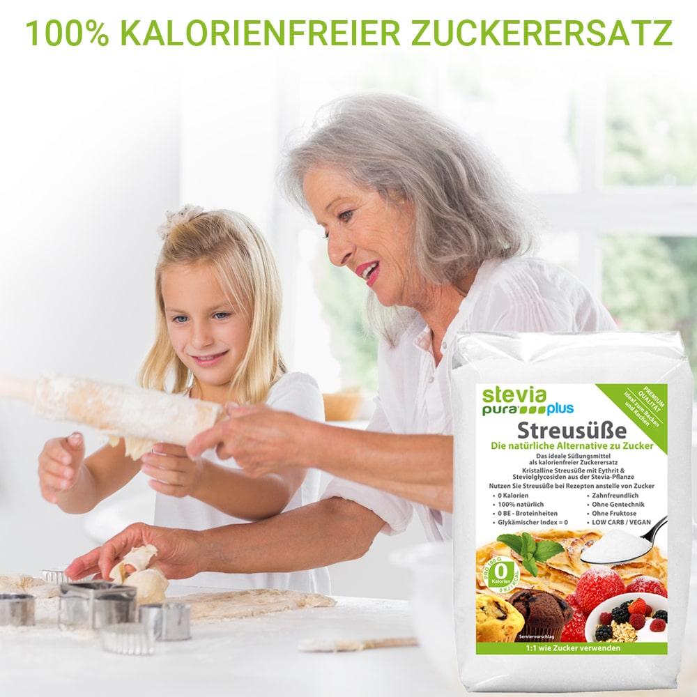 Kristalline Streusüße ist zum Backen leicht verwendbar wie Zucker.